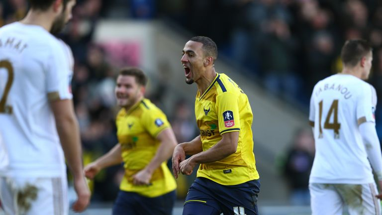 Kemar Roofe celebrates after putting Oxford in front
