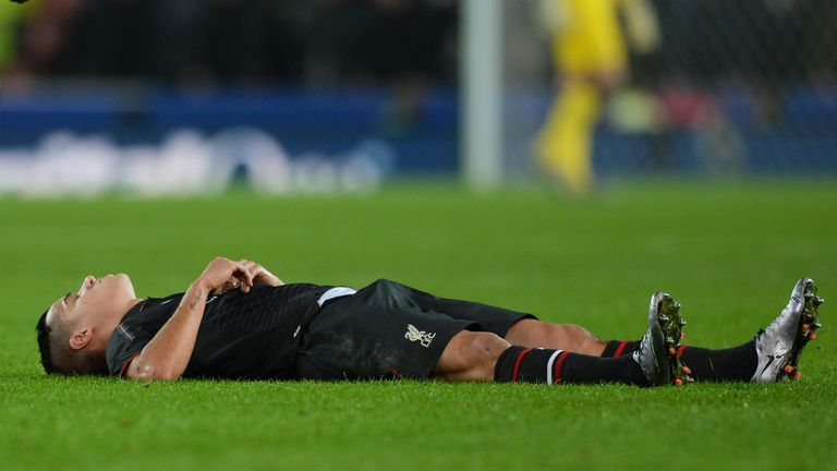 Philippe Coutinho reacts after going down with an injury at Stoke