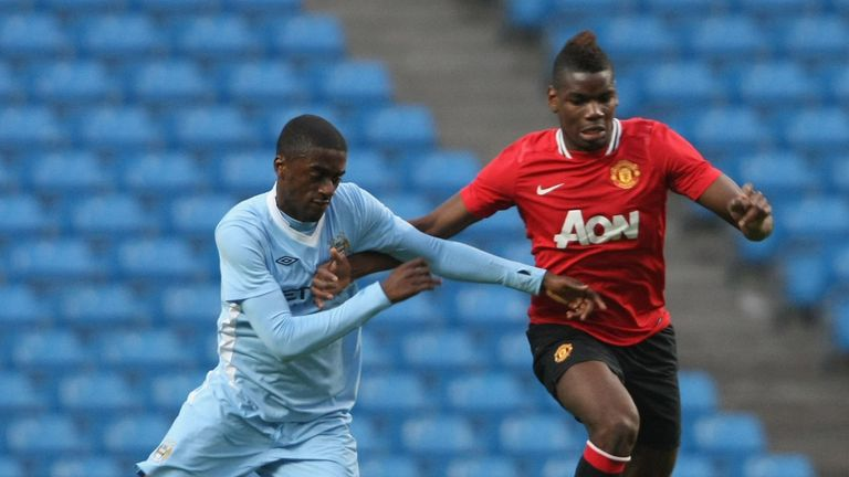 Pogba in action for United reserves at the Etihad Stadium in 2012