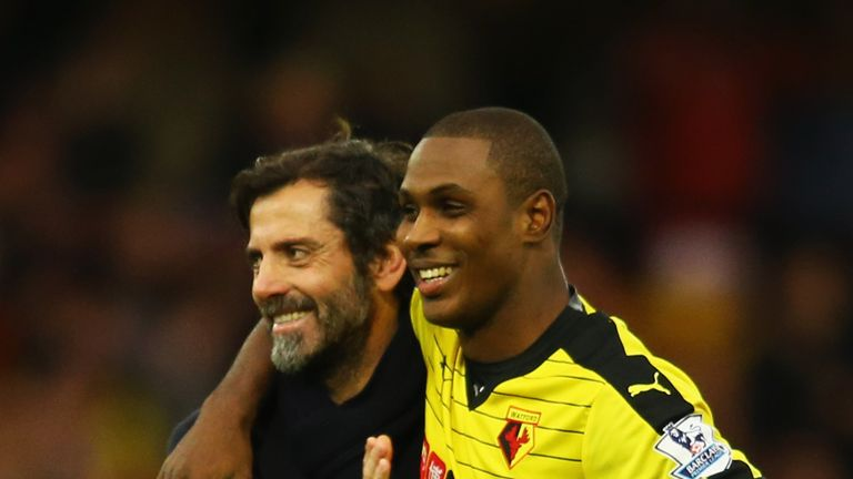 All smiles for Watford boss Flores and striker Ighalo
