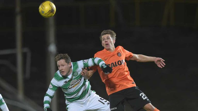 Dundee United's Riku Riski (right) and Kris Commons (left) tussle for a header