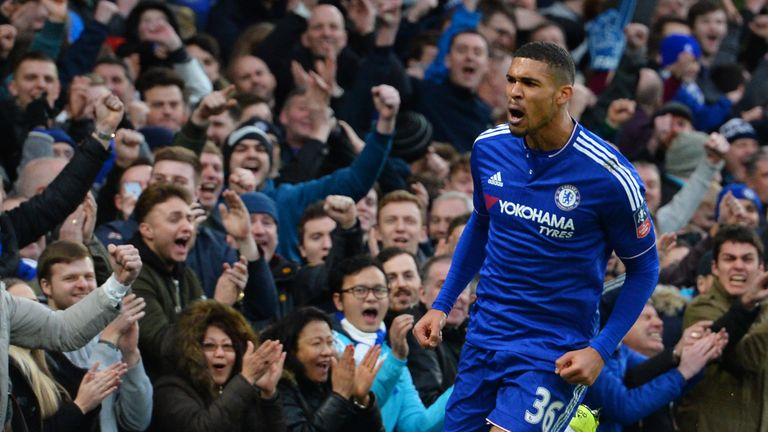 Loftus-Cheek celebrates his first-ever goal for Chelsea