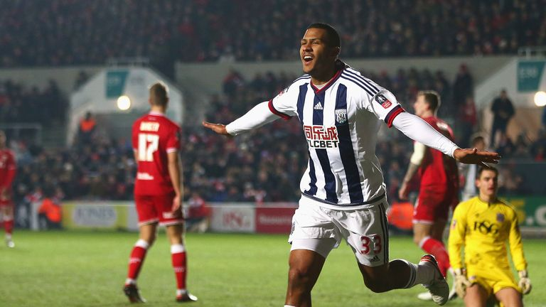 Salomon Rondon celebrates his winning goal for West Brom as they knocked out Bristol City in the FA Cup