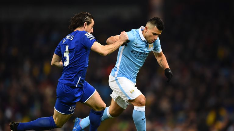 Sergio Aguero of Manchester City is challenged by Leighton Baines of Everton
