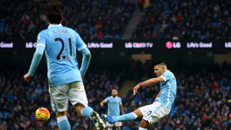 Sergio Aguero scored twice as Manchester City thrashed Crystal Palace