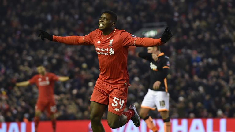 Sheyi Ojo celebrates scoring his first Liverpool goal in the FA Cup replay against Exeter