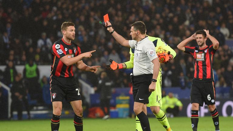 Francis is shown a red card by referee Andre Marriner