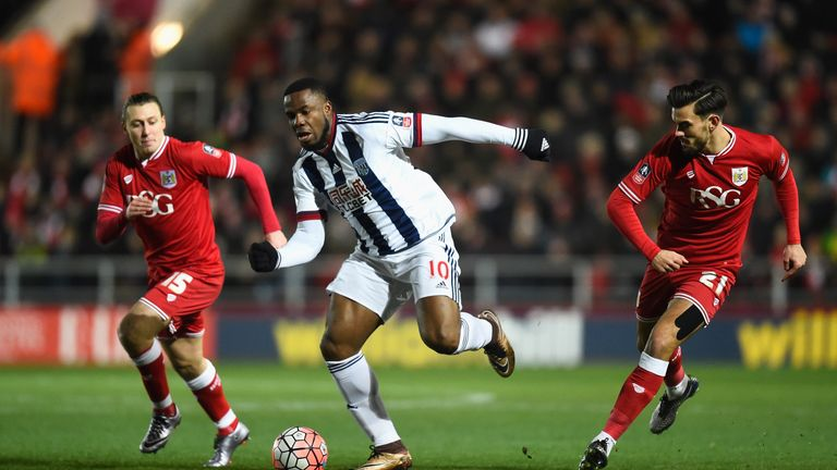 Victor Anichebe competes for the ball against Marlon Pack and Luke Freeman