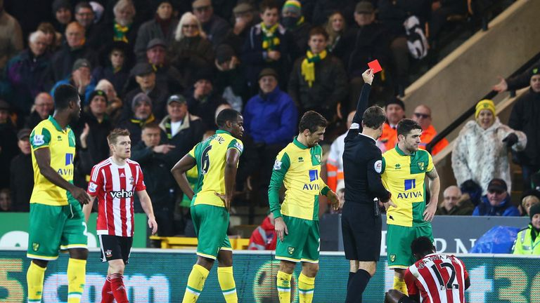 Wanyama (sitting down) was sent off during the second half against Norwich
