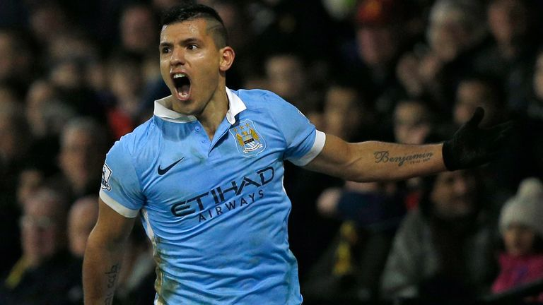 Aguero celebrates after scoring against Watford