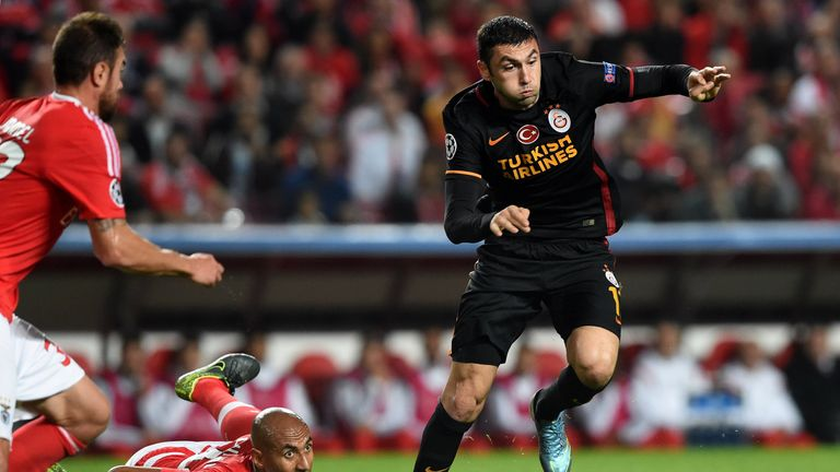 Galatasaray's Burak Yilmaz (R) is attracting interest from West Ham