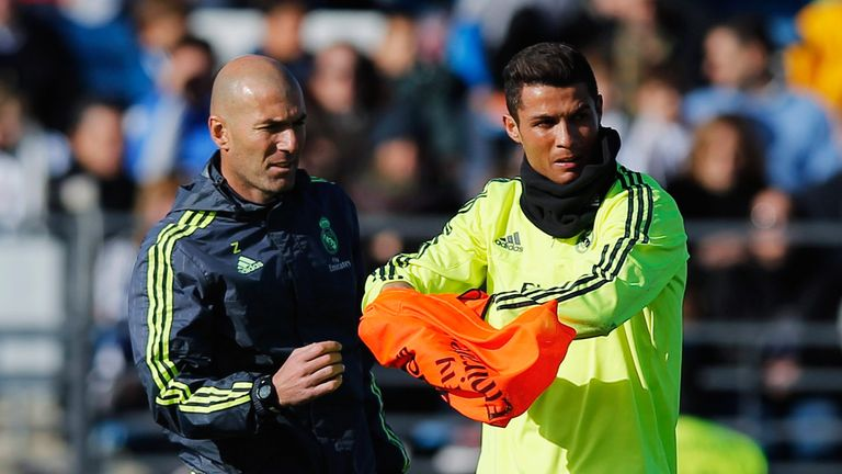 Zinedine Zidane (left) has no intention of letting Cristiano Ronaldo leave