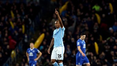 Manchester City's Fernandinho scored in the Capital One Cup semi final against Everton