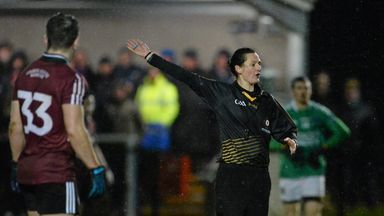 Maggie Farrelly made history as she refereed Fermanagh's win over St Mary's
