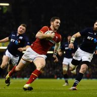 Wing George North scores Wales' third try against Scotland