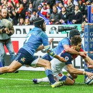 France wing Hugo Bonneval scores his side's third try