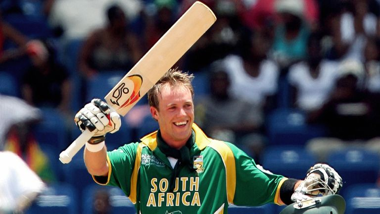 De Villiers celebrates his maiden ODI hundred for South Africa at the 2007 World Cup