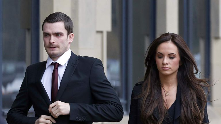 Adam Johnson at court with girlfriend Stacey Flounders