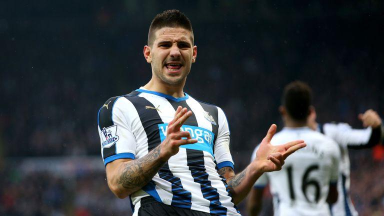 Aleksandar Mitrovic celebrates his goal