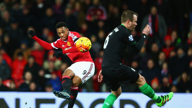 Anthony Martial of Manchester United scores his team's second goal