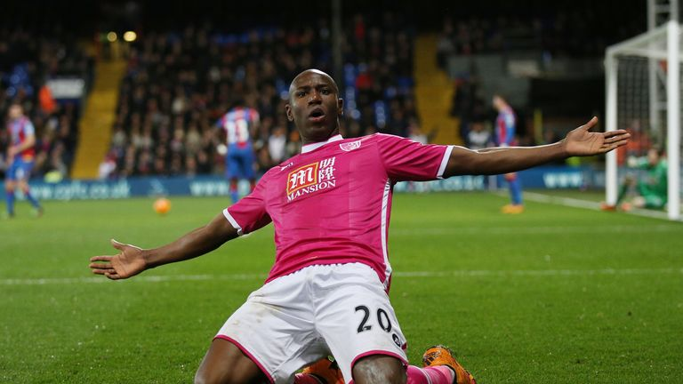 Benik Afobe celebrates scoring Bournemouth's winner against Crystal Palace.
