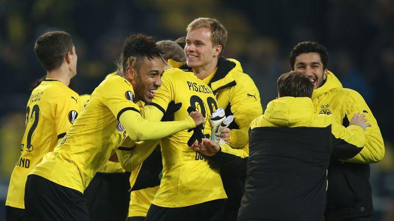 Borussia Dortmund celebrate their first-leg victory