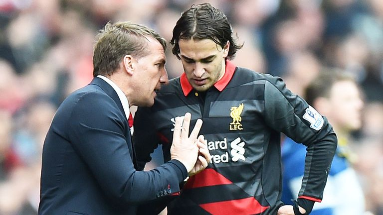 Former Liverpool boss Brendan Rodgers with Lazar Markovic