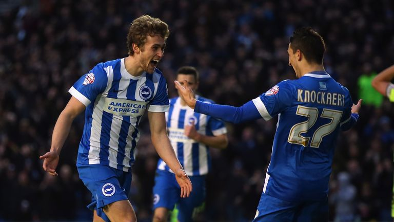 James Wilson celebrates his winning goal with Anthony Knoackaert
