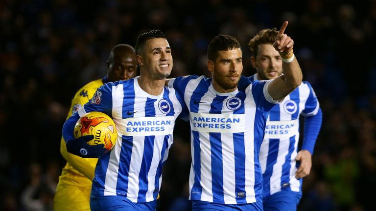 Brighton's Tomer Hemed celebrates scoring his side's first goal