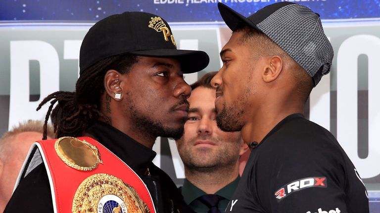 Charles Martin (left) and Anthony Joshua (right) will fight for the IBF title on April 9
