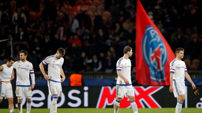 Chelsea players look dejected following their 2-1 defeat in Paris