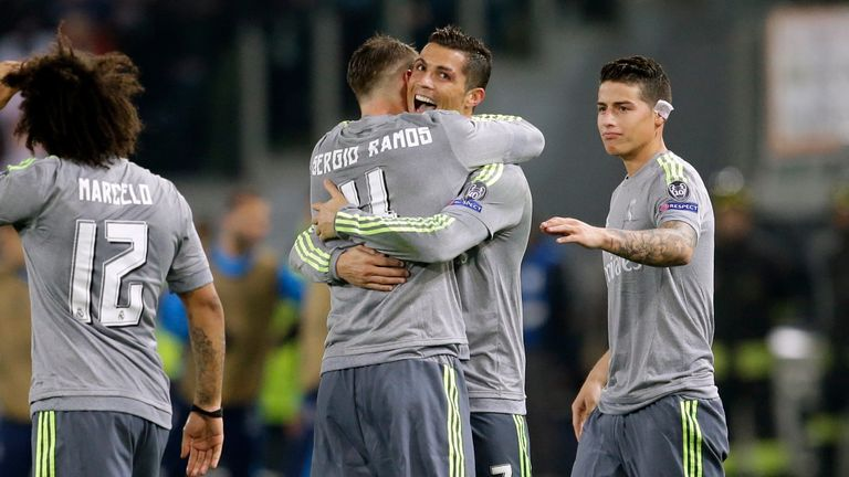 Cristiano Ronaldo celebrates opening the scoring after half-time