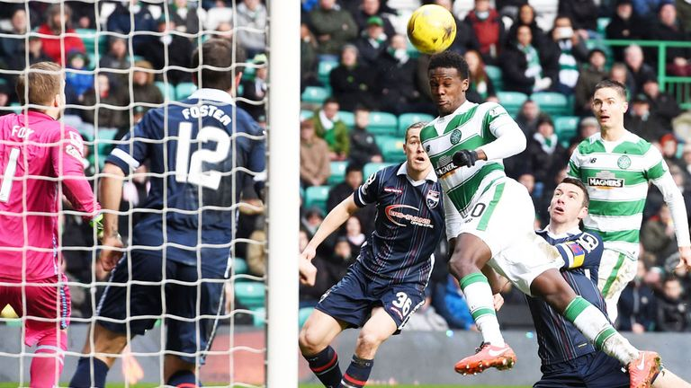 Dedryck Boyata scores Celtic's second goal against Ross County