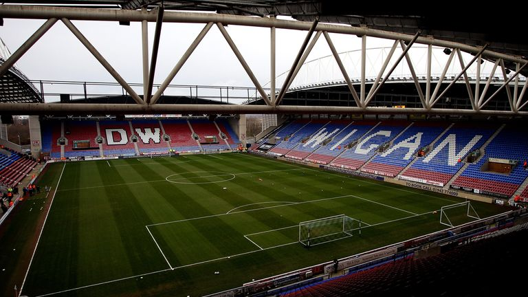 The DW Stadium, home of Wigan Warriors and Wigan Athletic