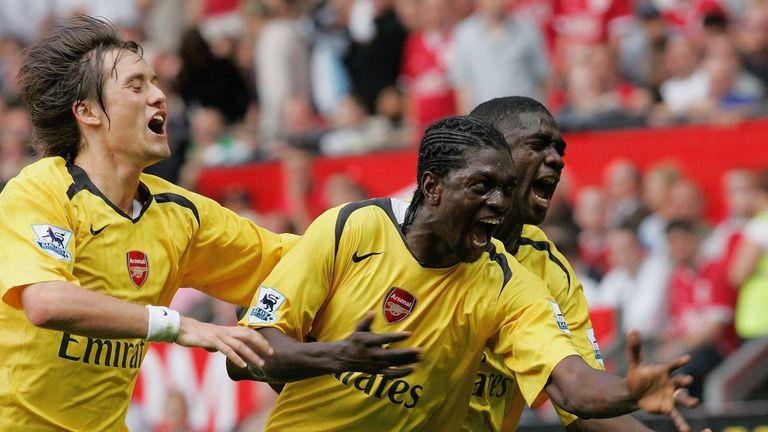 Emmanuel Adebayor's late strike sealed Arsenal's last league victory at Old Trafford in 2006