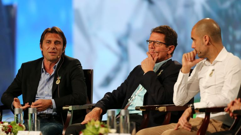 Fabio Capello pictured with Antonio Conte and Pep Guardiola at the Dubai International Sports Conference