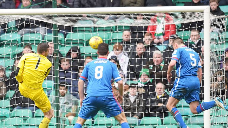 Inverness CT defender Gary Warren (5) heads the ball over an open goal