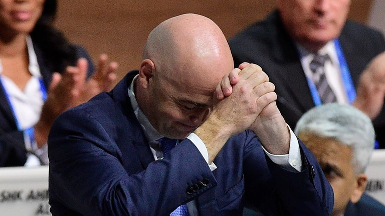 Infantino reacts after being told he had won the election