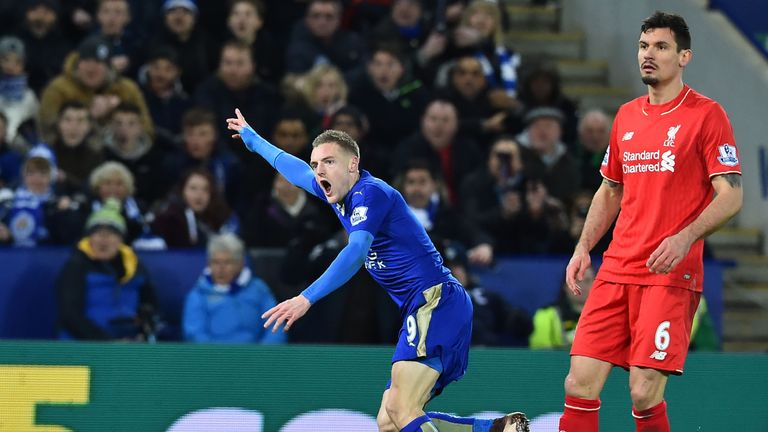Jamie Vardy celebrates scoring the opening goal against Liverpool