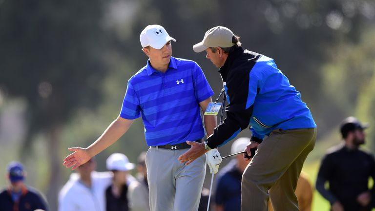 Spieth spoke to a PGA Tour official after his ball ended being positioned near a sprinkler head at the ninth
