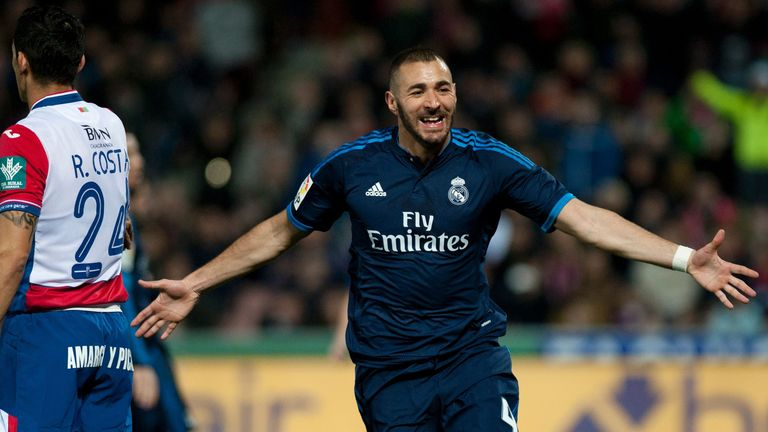 Real Madrid forward Karim Benzema celebrates his opening goal.