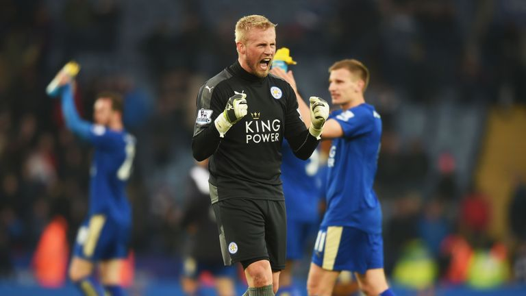Kasper Schmeichel celebrates after another amazing win for Leicester