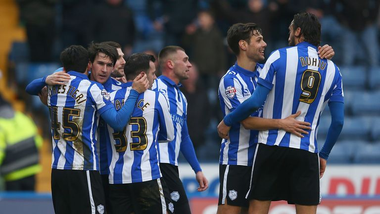 Kieran Lee of Sheffield Wednesday is congratulated on his goal