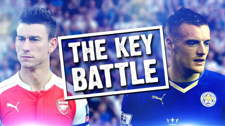 Laurent Koscielny and Jamie Vardy could be the key battle on Sunday