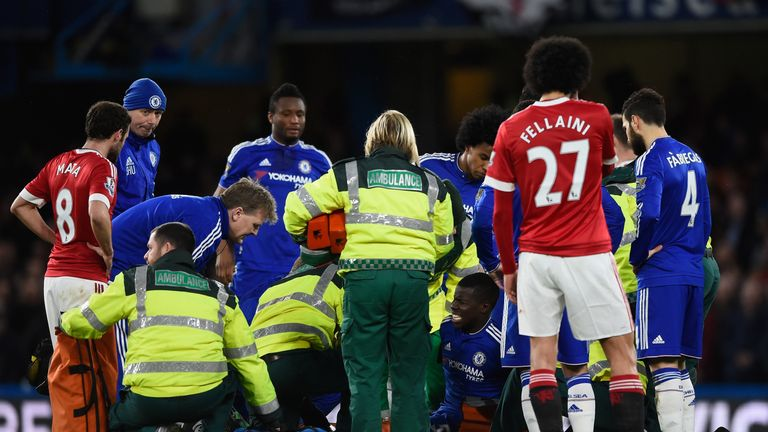 Kurt Zouma was treated on the pitch after suffering a knee injury