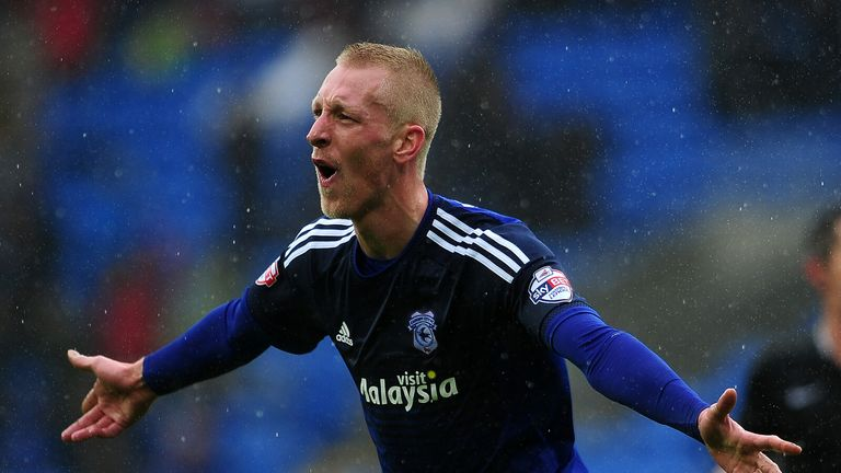 Lex Immers of Cardiff City celebrates his side's third goal