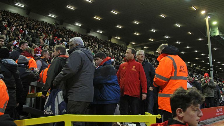 Liverpool supporters walked out in the 77th minute of the 2-2 draw with Sunderland