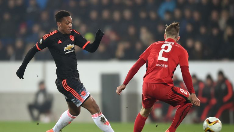 Anthony Martial takes on Kian Hansen