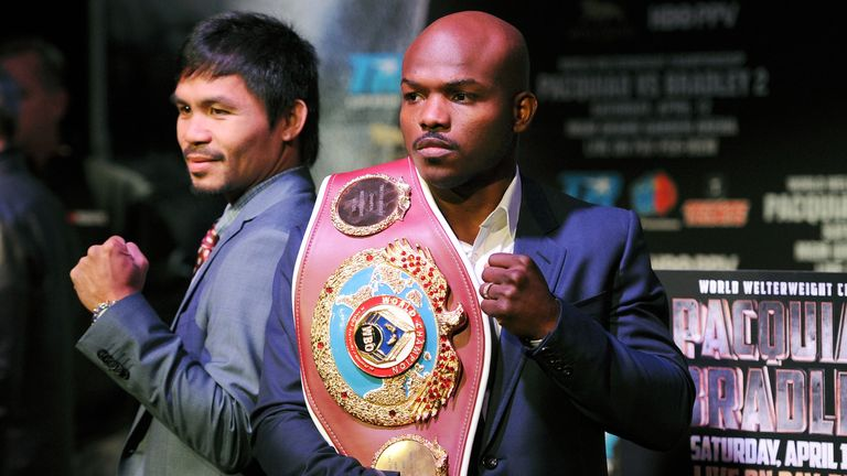 Manny Pacquiao (left) and Tim Bradley have twice contested the WBO welterweight title
