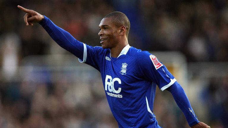 Marcus Bent celebrates scoring for Birmingham against Watford in December 2008